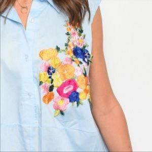 Ces Femme Tops - Gorgeous Oversized Embroidered Floral Top